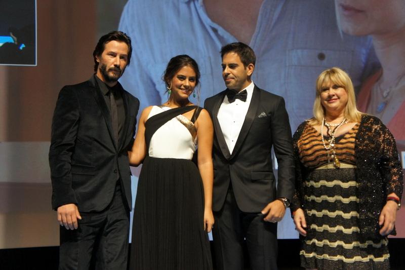 Keanu Reeves, Eli Roth et Lorenza Izzo sur scène pour la première de Knock Knock à Deauville 2015