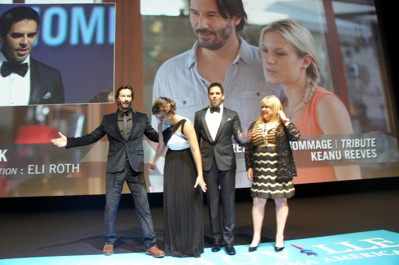 Keanu Reeves et toute l'équipe du film Knock Knock projeté en avant première à Deauville 2015